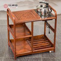 檀明宫可移动茶水柜花梨木中式功夫茶桌小户型茶台实木刺猬紫檀新