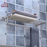 卫浴挂件 304不锈钢 浴室毛巾架 拉丝双层置物架 厕所浴巾架厂家直销GX-LS2604