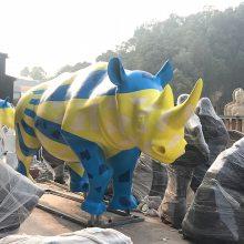 公园草地景观动物奶牛犀牛玻璃钢雕塑