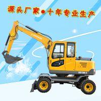 修复公路边小沟的小型轮式挖掘机 简单易学小挖机价格