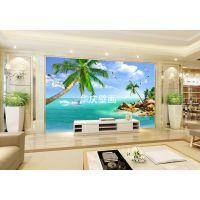 3d立体海景墙纸无缝电视背景墙壁纸影视墙纸壁画客厅卧室无缝墙布
