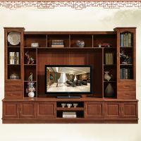 简约现代实木电视柜组合背景墙新中式客厅实木地柜视听柜鑫平阁实木家具厂家直销