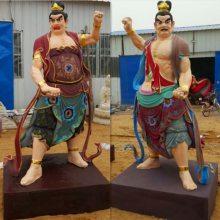 塑造寺庙大型佛像 树脂贴金彩绘金刚力士 哼哈二将神像批发