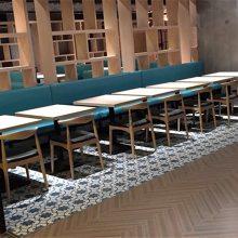 现代中式面馆靠墙卡座桌椅定做,惠州面馆卡座沙发餐桌椅哪里买