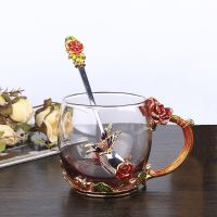 高档珐琅玫瑰花茶杯珐琅彩色玻璃杯果汁杯咖啡杯礼盒装情人礼物