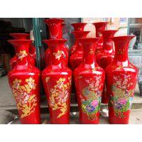 红色花鸟牡丹花瓶批发 1.4米陶瓷落地大花瓶价格 景德镇客厅装饰瓷瓶厂家定制
