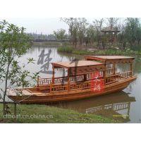 楚风江南电动木船景区观光船中式旅游船高低蓬服务类船