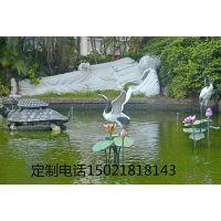 长春雕塑厂定制丹顶鹤雕塑 高铁广场雕塑 荷塘水池雕塑
