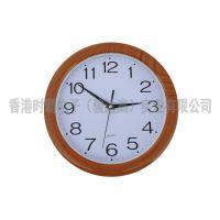 时霸手表工厂供应新款高档创意木纹色静音挂钟
