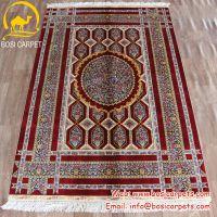河南博斯地毯克什米尔波斯地毯真丝印度手工编织红色背景手工地毯