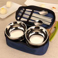创意旅行便携不锈钢碗筷勺套装复古碗筷家庭餐具日式饭碗碗筷套装