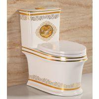 金色一体陶瓷卫浴欧式高档连体马桶座便器