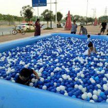 天津塘沽公园20平方充气海洋球池搭配三组合秋千滑梯生意棒棒哒