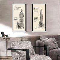 厂家直销 现代简约建筑艺术画 客厅抽象建筑有框装饰画 现代装饰画