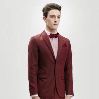 男式休闲西装 婚庆结婚礼服 商务时尚修身西装 秋季羊毛红色西装