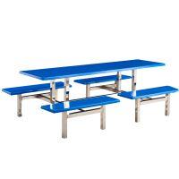 厂家直销 学校食堂玻璃钢连体餐桌椅 公司饭堂员工餐厅不锈钢桌椅