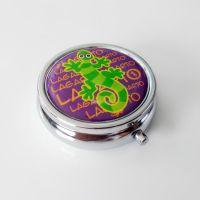 金色50mm圆形三格药盒 定制 西班牙圆形金属三格药盒 环保药丸盒 首饰盒 可定制logo