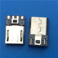 USB 2.0MICRO 焊线式4P 公头L=10.5 前五后四 有弹不短路5P 黑胶