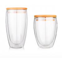 耐热双层玻璃杯茶杯 透明玻璃水杯带盖 创意隔热杯子套装定制批发 无锡促销礼品杯