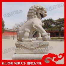 寺庙辟邪神兽雕刻 芝麻灰石狮子