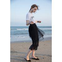 新款黑色不规则蕾丝网纱蛋糕裙中长裙半身裙女时尚女装半身裙批发