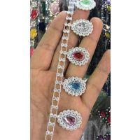 水滴形彩色水钻线链饰品钻链服饰箱包链子