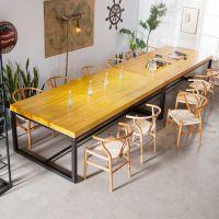 北欧实木办公桌公司大型铁艺会议桌椅组合简约现代多用桌可定制