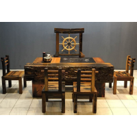 老船木茶桌椅组合 阳台小户型茶艺桌 中式功夫泡茶桌