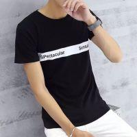 5元新款夏装休闲T恤圆领纯棉男士T恤短袖修身青少年男装上衣