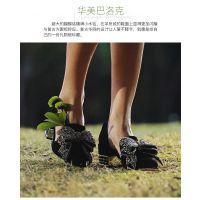 时尚流行女鞋Jeffrey Campbell黑色绒面尖头经典水钻蝴蝶结方跟单鞋女