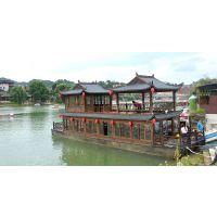 16米双层仿古餐饮船 双层画舫木船 景区观光旅游船
