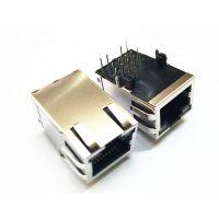 供应长度25.4MM 窗口朝上内置变压器RJ45网络连接器 水晶头母座 插座1000M 带灯