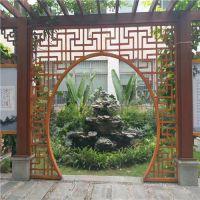 古典园林拱门橡木纹铝扁管铝窗花广东指定加工厂