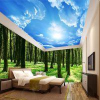 定制壁纸价格 酒店ktv主题3d墙纸定做 原始森林无缝壁画厂家魔方