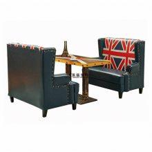 简约式皮制沙发桌子组合,河池快餐厅家具