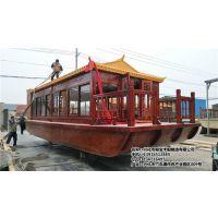 10米电动观光画舫船 景区仿古旅游船 水库游览观光木船多少钱