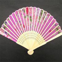折叠竹扇 仕女扇 女士扇子批发 工艺折叠扇 绢布工艺折叠扇