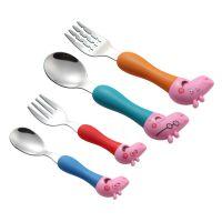 新款卡通勺子叉子 304不锈钢小猪叉勺塑料便捷儿童餐具礼品套装