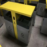 不锈钢果皮箱生产厂家 市政环卫垃圾桶 批发双桶 回收箱 定制现货