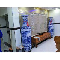 正宗景德镇仿古花瓶批发 1.6米1.8米落地装饰花瓶价格 青花山水花瓶厂