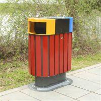 三色桶垃圾箱 室外环卫垃圾桶 钢木垃圾桶 品种多多支持定制
