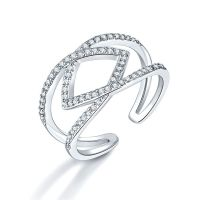 铜粘嵌石头几何型戒指 饰品厂家工厂 时尚开口戒戒指