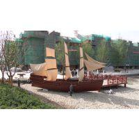 殿宝工艺木船 景观装饰船 双体帆船 木制帆船图片