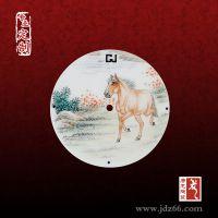 瓷片镶嵌钟表瓷板画 唐龙陶瓷专业定制定做