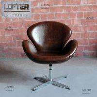 设计师酒吧椅工业风真皮天鹅椅酒店会所洽谈椅咖啡室家用休闲椅子
