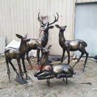 房地产园林景观鹿装饰 玻璃钢仿古铜梅花鹿 楼盘户外仿真动物雕塑