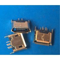 镀金MICRO 5P/180度插板 直插USB母座B型-AB型立式插板 卷边直边