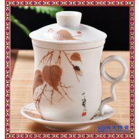 茶杯陶瓷家用带盖景德镇手绘 茶杯陶瓷家用带盖景德镇手绘