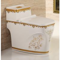 最新款陶瓷一体马桶金色贴花彩色质优价实卫生间马桶