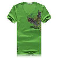 忆惜格罗 2017夏季新品韩版男士T恤 V领潮流草绿色粘钻猫头鹰男式丝光棉短袖T恤